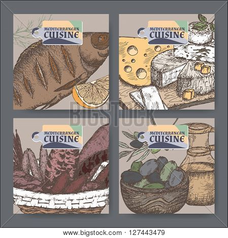 Set of 4 color vector Mediterranean cuisine banners. Includes hand drawn sketch of cheese, olives, seafood, sausages, spices. Great for restaurants, cafes, recipe and travel books.