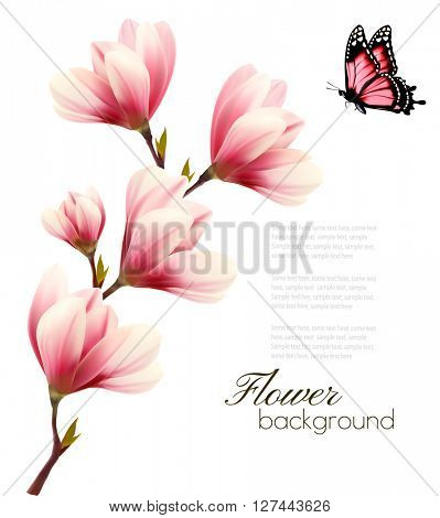 Nature background with blossom branch of pink flowers and butterfly. Vector