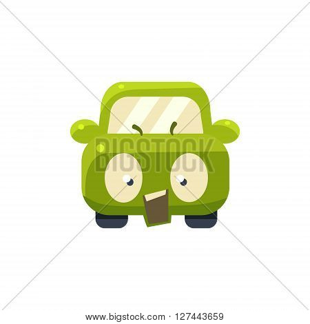 Outraged Green Car Emoji Cute Childish Style Character Flat Isolated Vector Icon
