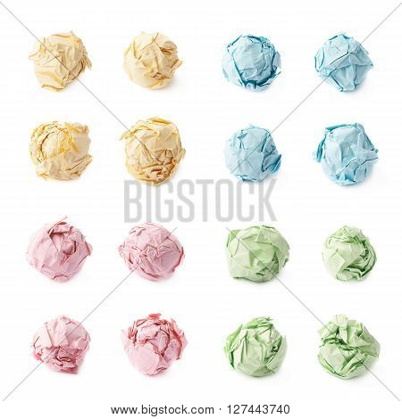 Crumple paper ball isolated over the white background, set of four colors, each in four foreshortenings