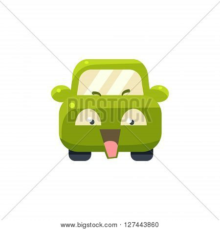 NAughty Green Car Emoji Cute Childish Style Character Flat Isolated Vector Icon