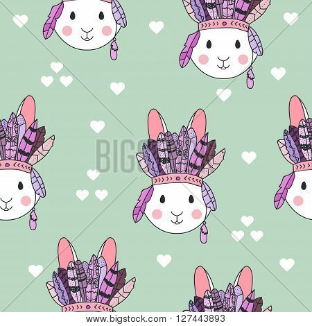 Vector tribal pattern with rabbit in headband with feathers. Hand drawn vector pattern for children fabric, clothes, room decoration. Cute bunny vector illustration. Bunny tribal fabric. Tribal rabbit