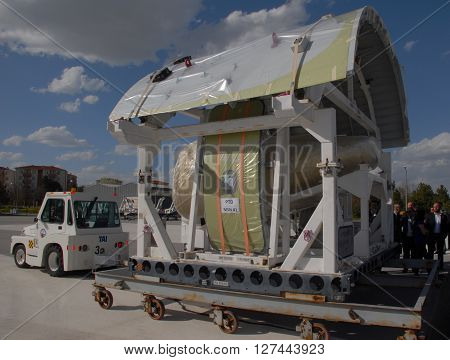 ANKARA/TURKEY- APRIL 29, 2015: Upper shell of Airbus Military A400m aircraft at the Turkish Aerospace Industry-TAI's apron. April 29, 2015-Ankara/Turkey