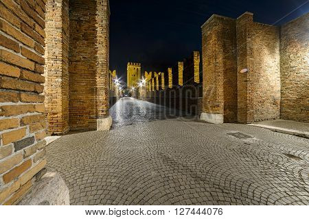 Verona, Italy - May 01 2015: bridge of castelvecchio in Verona Italy in the night