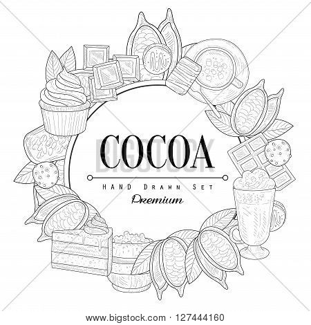 Cocoa Vintage Vector Hand Drawn Design Card