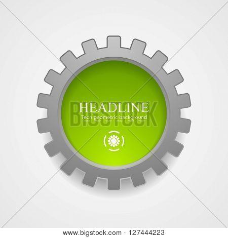 Abstract tech green grey gear vector icon. Vector technology corporate graphic design