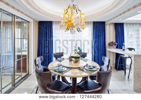 decoration and furniture of luxury dining room