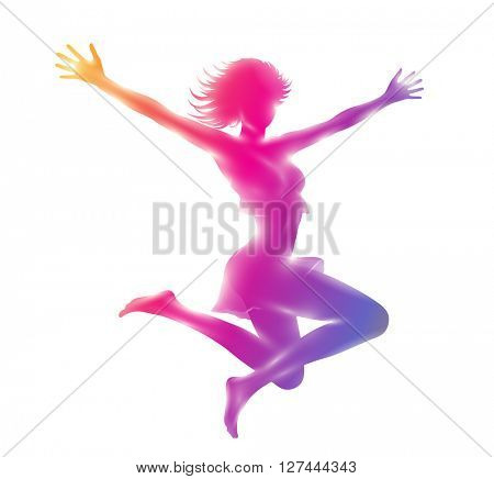 Attractive slim  girl jumping hands up