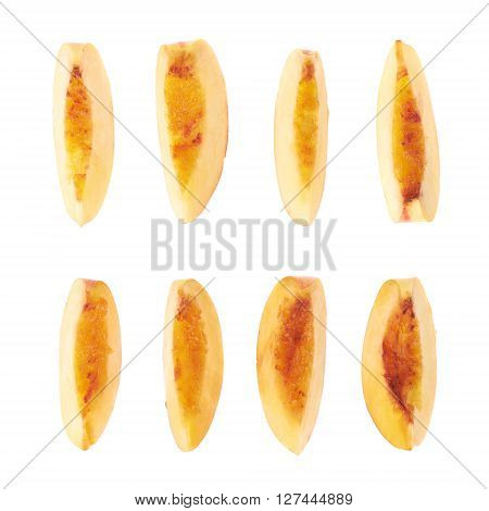 Slice of a nectarine fruit flesh isolated over the white background, set of eight different foreshortenings