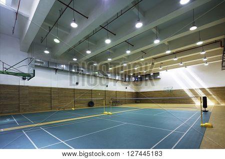 design of indoors badminton court in modern gym