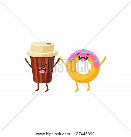 Coffee And Doughnut Cartoon Friends Colorful Funny Flat Vector Isolated Illustration On White Background