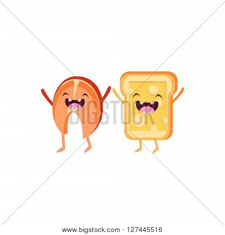 Salmon And Toast Cartoon Friends Colorful Funny Flat Vector Isolated Illustration On White Background