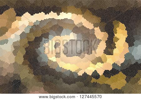 Wonderful twist curve mosaic style in brown and earth colour tone abstract classic background