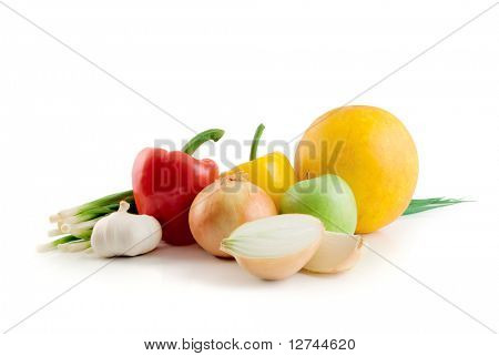 fruits and vegetables isolated on the white background