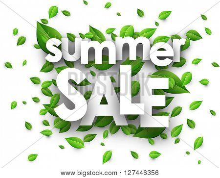 Summer sale paper white background with green leaves. Vector illustration.