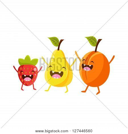 Strawberry, Pear And Plum Cartoon Friends Colorful Funny Flat Vector Isolated Illustration On White Background