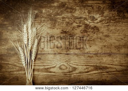 Sheaf of wheat ears on dark wooden background with spacefor text, sepia toned