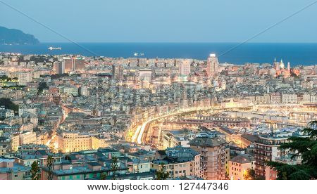 Aerial view of Genoa during the blue hour