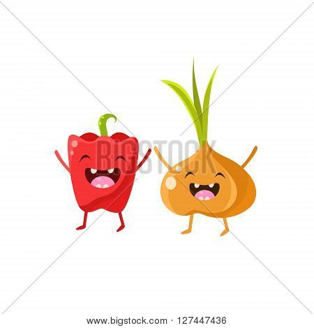 Sweet Pepper And Onion Cartoon Friends Vector Isolated Illustration On White Background