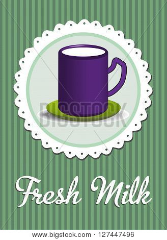 Purple cup with milk isolated and the text fresh milk written bellow with handwritten letters
