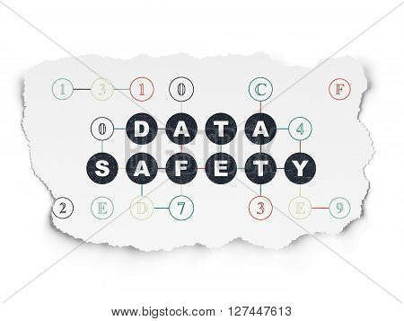 Information concept: Painted black text Data Safety on Torn Paper background with Scheme Of Hexadecimal Code