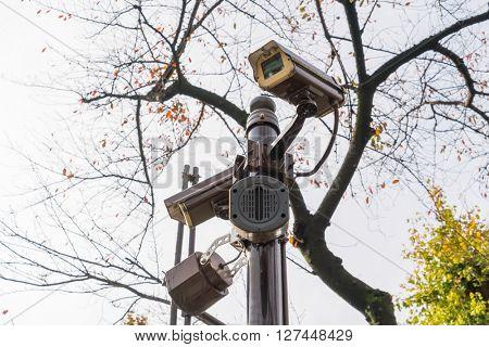 Close up of security surveillance camera