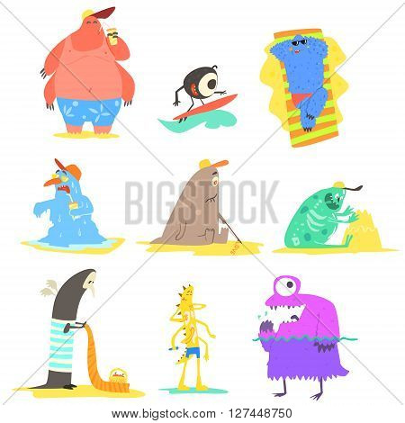 Monsters  On The Beach Childish Funny Flat Vector Illustrations Collection Isolated On White Background