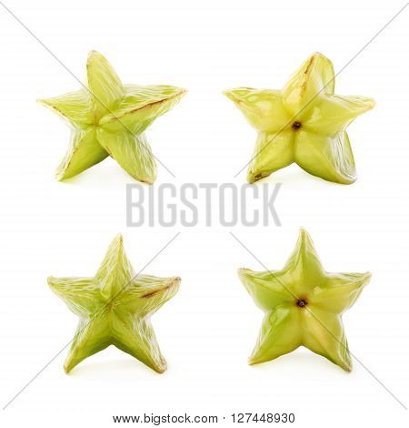 Green Averrhoa carambola starfruit isolated over the white background, set of four different foreshortenings