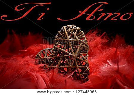 wooden heart in the midst of red feathers on a black background and ti amo written