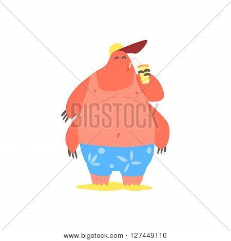 Four Armed  Monster On The Beach Childish Funny Flat Vector Illustration Isolated On White Background