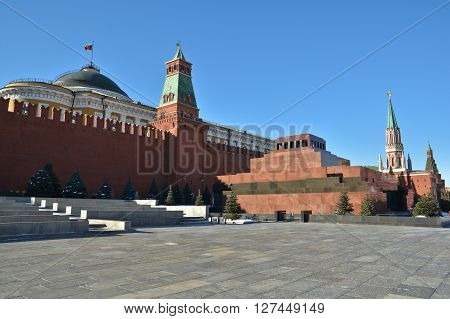 Lenin's mausoleum on red square in Moscow on the background of the Kremlin wall.