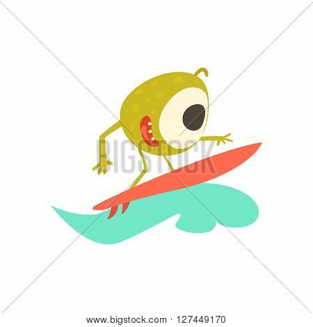 Surfer Monster On The Beach Childish Funny Flat Vector Illustration Isolated On White Background
