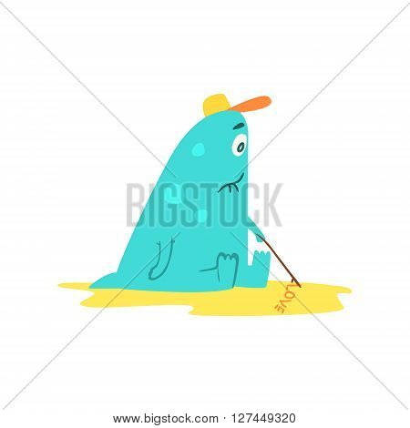 Drawing On Sand Monster On The Beach Childish Funny Flat Vector Illustration Isolated On White Background