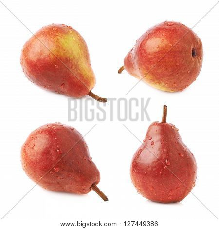 Red pear fruit covered with the water drops isolated over the white background, set of four different foreshortenings