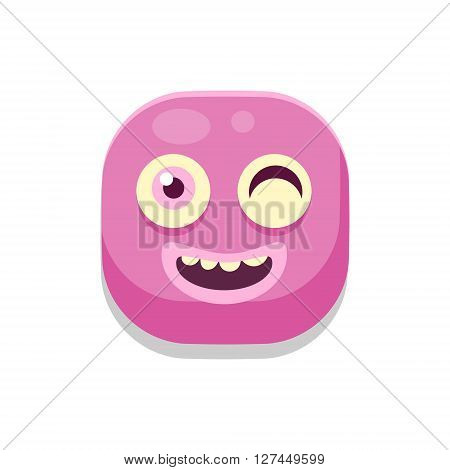 Winking Monster Square Icon Isolated On White Background In Fun Childish Emoji Style Vector Design