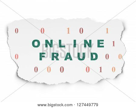 Safety concept: Painted green text Online Fraud on Torn Paper background with  Binary Code