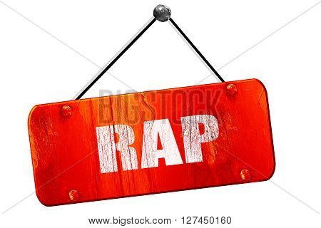 rap music, 3D rendering, red grunge vintage sign