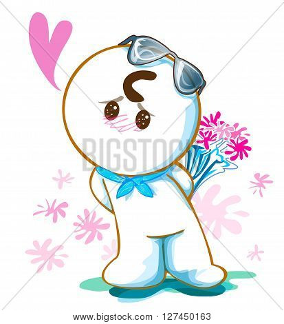 Cartoon cute acting design He to pleading and say Love me please and want to surprise give pink flower for sweet girl he have sun glasses on his head and isolate white background