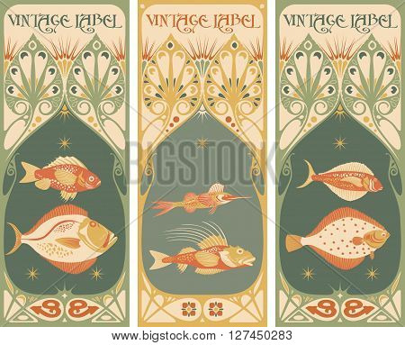 Vintage labels: fish vector - art nouveau frame