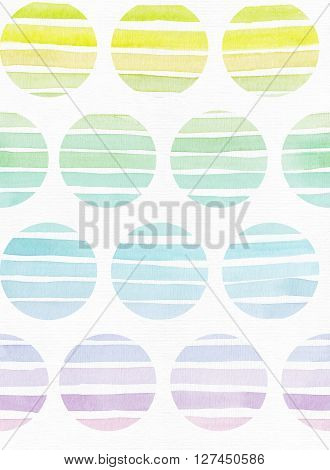 Simple vertical seamless template with handdrawn ink circles in freehand style with stripe gradient texture imperfect grainy bright on white watercolor paper illustration for your presentation or design