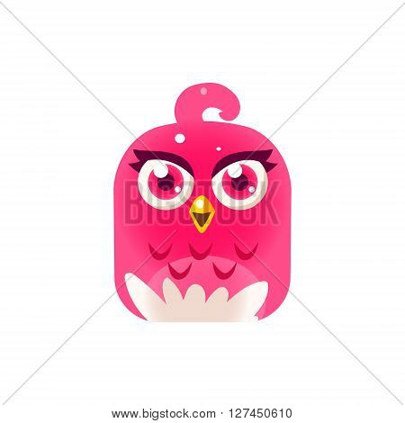 Pink Girly Chick Square Icon Colorful Bright Childish Cartoon Style Icon Flat Vector Design Isolated On White Background