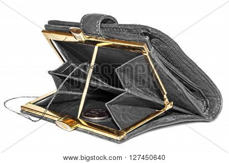 Traps for money in open purse isolated on white background