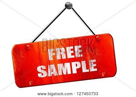 free sample sign, 3D rendering, red grunge vintage sign