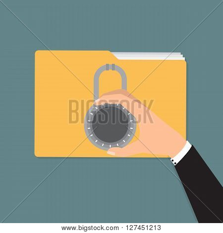 Businessman unlock folder with combination lock. Vector illustration computer security and data privacy concept.
