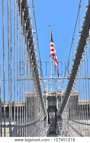 New York City,State of New York,USA - June 28, 2011 : Brooklyn Bridge seen from the pedestrian walkway
