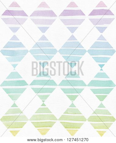 Simple vertical template with handdrawn ink triangles made in freehand style with stripe gradient texture imperfect grainy bright on white watercolor paper illustration for your presentation or design
