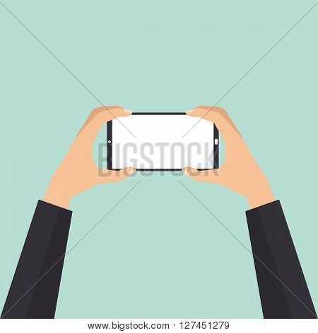 Businessman hand holding smartphone taking a photo. Vector illustration phone photography technology concept.