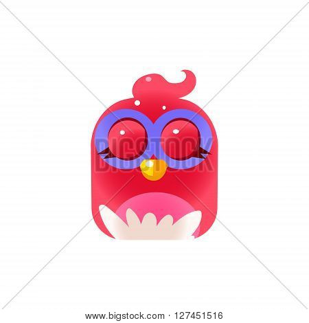 Pink Sleeping  Chick Square Icon Colorful Bright Childish Cartoon Style Icon Flat Vector Design Isolated On White Background