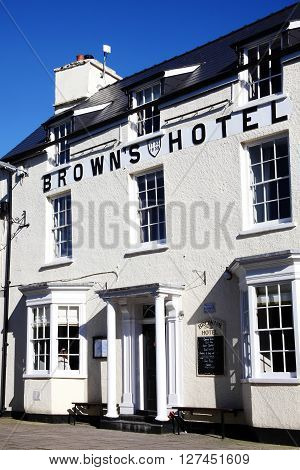 Laugharne,Wales, UK, February 24, 2016 : Browns Hotel the favourite pub of Dylan Thomas, which he would visit on an almost daily basis during the last four years of his life