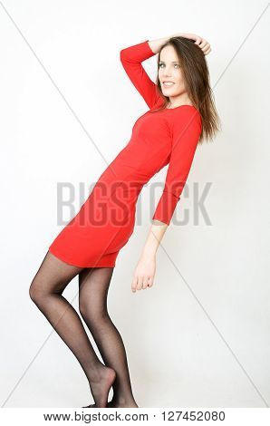 Slim Girl In Red Dress